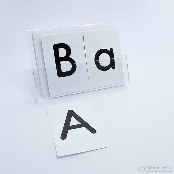 Alphabet Letters on Cards in an Acrylic Holder